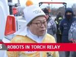 Робот HUBO, созданный инженерами Корейского института передовых технологий (KAIST), принял участие в эстафете олимпийского огня в южнокорейском городе Тэджон.